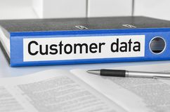 A folder with the label Customer data Royalty Free Stock Image