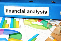 Folder with label  financial analysis. Royalty Free Stock Images