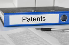 Folder with the label Patents. A Folder with the label Patents Royalty Free Stock Image