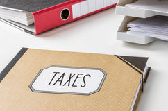 Folder with the label Taxes Royalty Free Stock Photo