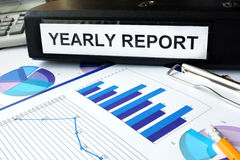 Folder with the label   yearly report Stock Photo
