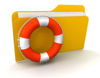 Folder and Lifebuoy (clipping path included). Folder and Lifebuoy. Image with clipping path Royalty Free Stock Image