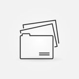 Folder line icon. Vector file folder with documents concept symbol or logo element in thin line style Stock Photos
