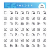 Folder Line Icons Set. Set of 56 folder line icons suitable for web, infographics and apps. Isolated on white background. Clipping paths included stock illustration