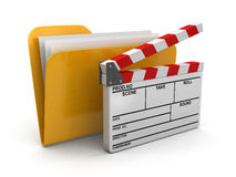 Folder and lists with Opened Clapboard (clipping path included). Folder and lists with Opened Clapboard. Image with clipping path Stock Photography