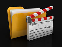 Folder and lists with Opened Clapboard (clipping path included). Folder and lists with Opened Clapboard. Image with clipping path Stock Image