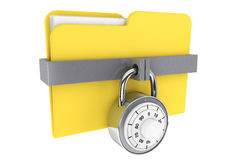 Folder with Lock. Security concept. Yellow folder and locked combination pad lock on a white background Stock Photos