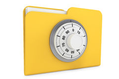 Folder with Lock. Security concept. Yellow folder and locked combination pad lock on a white background Stock Images