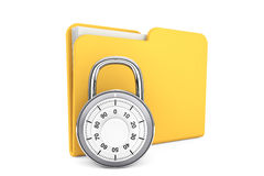 Folder with Lock. Security concept. Yellow folder and locked combination pad lock on a white background Royalty Free Stock Images