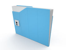 Folder and lock, 3D Stock Image