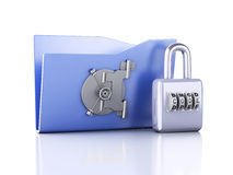 Folder and lock. Data security concept. 3d illustration. Image of blue folder and lock. Data security concept. 3d illustration Royalty Free Stock Image