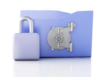 Folder and lock. Data security concept. 3d illustration. Image of blue folder and lock. Data security concept. 3d illustration Stock Photography