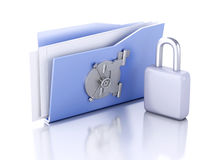 Folder and lock. Data security concept. 3d illustration. Image of blue folder and lock. Data security concept. 3d illustration Royalty Free Stock Images