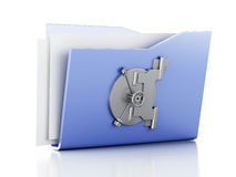 Folder and lock. Data security concept. 3d illustration. Image of blue folder and lock. Data security concept. 3d illustration Stock Image