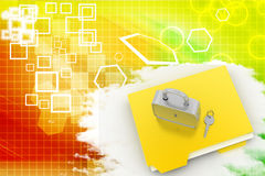 Folder and lock With Files   Illustration Stock Photo