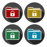 Folder with lock pad icons set with long shadow. Vector icon Stock Photo