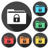 Folder with lock pad icons set with long shadow. Vector icon Royalty Free Stock Image