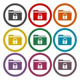 Folder with lock pad icons set. Vector icon Stock Image