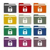 Folder with lock pad sticker set. Vector icon Stock Image