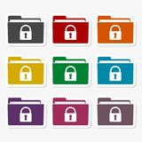 Folder with lock pad sticker set. Vector icon Stock Photography