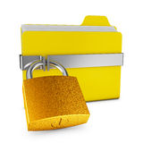 Folder and  lock. Yellow folder and a metal lock on a white background Royalty Free Stock Photography