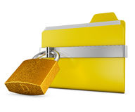 Folder and  lock. Yellow folder and a metal lock on a white background Royalty Free Stock Photo