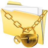 Folder locked. Vector image of folder with paper shits and lock on gold chain Royalty Free Stock Images