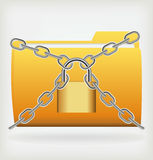 Folder locked by chains Stock Images