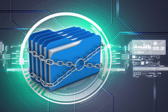 Folder locked by chains. In attractive color background Stock Photo