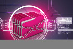 Folder locked by chains. In attractive color background Stock Images