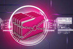 Folder locked by chains. In attractive color background Royalty Free Stock Photos