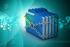 Folder locked by chains. In attractive color background Royalty Free Stock Images