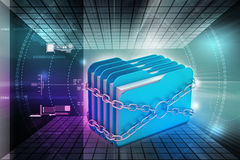 Folder locked by chains. In color background Royalty Free Stock Photos