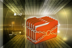 Folder locked by chains. In color background Royalty Free Stock Images