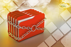 Folder locked by chains. In color background Stock Photo
