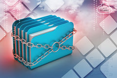 Folder locked by chains. In color background Royalty Free Stock Photo