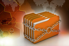 Folder locked by chains. In color background Stock Photos