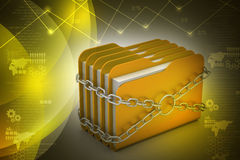 Folder locked by chains Royalty Free Stock Photography