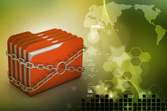 Folder locked by chains Royalty Free Stock Images
