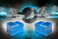 Folder locked by chains. In color background Stock Photography