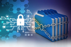 Folder locked by chains. In color background Royalty Free Stock Photography