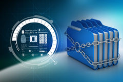 Folder locked by chains. In color background Stock Image