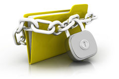 Folder locked by chains. Isolated over white vector illustration