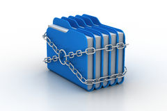 Folder locked by chains. In white background Stock Photography
