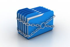 Folder locked by chains. In white background Royalty Free Stock Photo