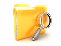 Folder and magnify glass Stock Images