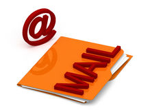 Folder with mail text and symbol - mail concept - 3d Royalty Free Stock Photography