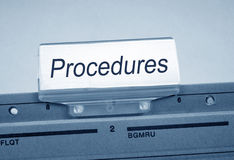 Folder marked procedures Stock Images