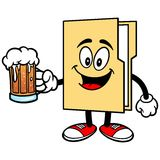 Folder Mascot with Beer Royalty Free Stock Photography