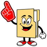Folder Mascot with Foam Finger Royalty Free Stock Photography